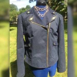 Juicy Couture navy blue polka dot jacket X-Large